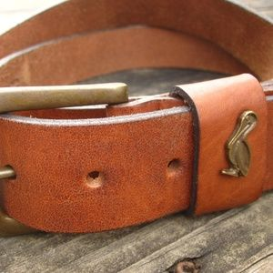 Brown Leather Belt with Pelican Conch Ingot L XL